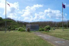 Monument to American Army and Marine landing at Asan Beach, July 21, 1944.