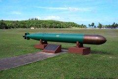 World War II torpedo at Asan War in the Pacific Memorial Park, Asan, Guam.