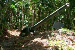 Piti Guns - Three Japanese 14 mm shore artillery guns sit in the jungle hills behind the village of Piti, Guam.